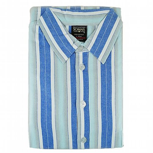 Nightshirt  - Luxury Brushed Cotton From Ireland -  Blue